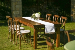 Farm Table and Cross Back Chair Rentals