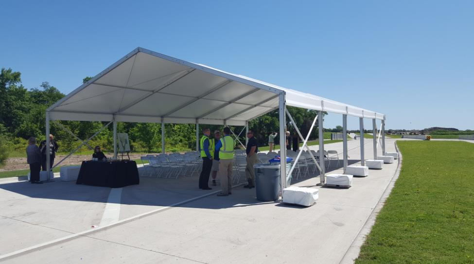 Tent Rental with Cement Blocks