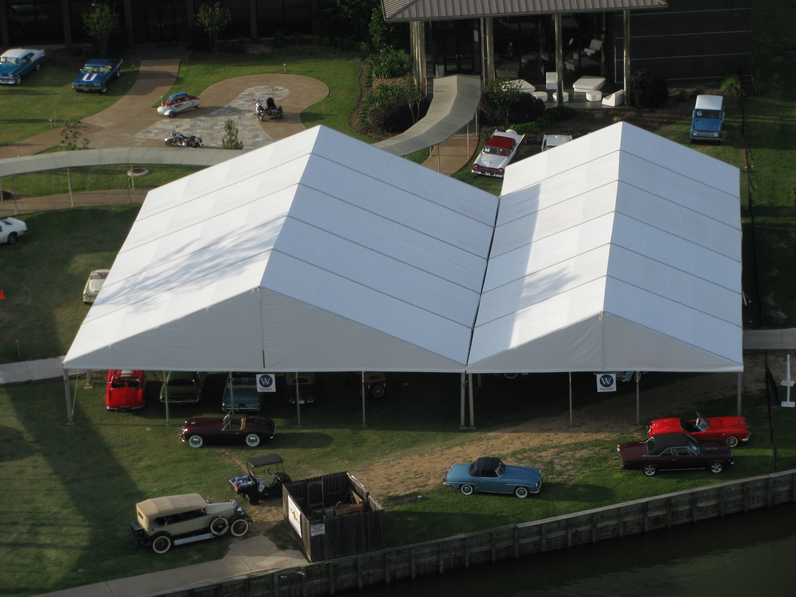 White Structure Tent Rental Overhead