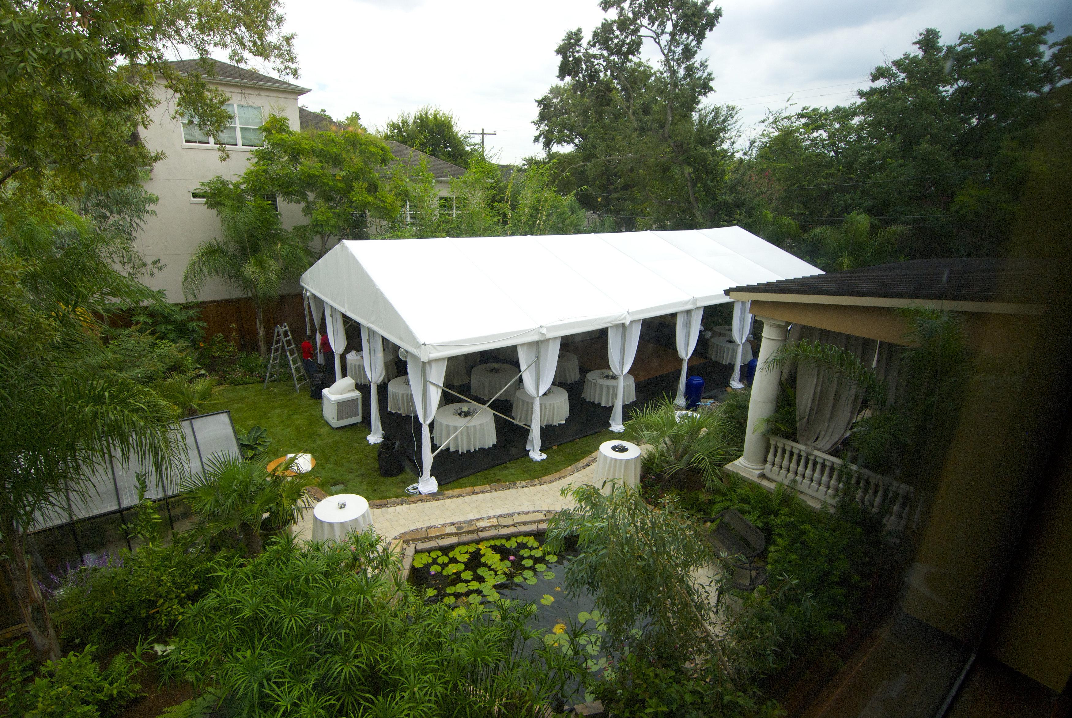 White Frame Tent Rental Overhead