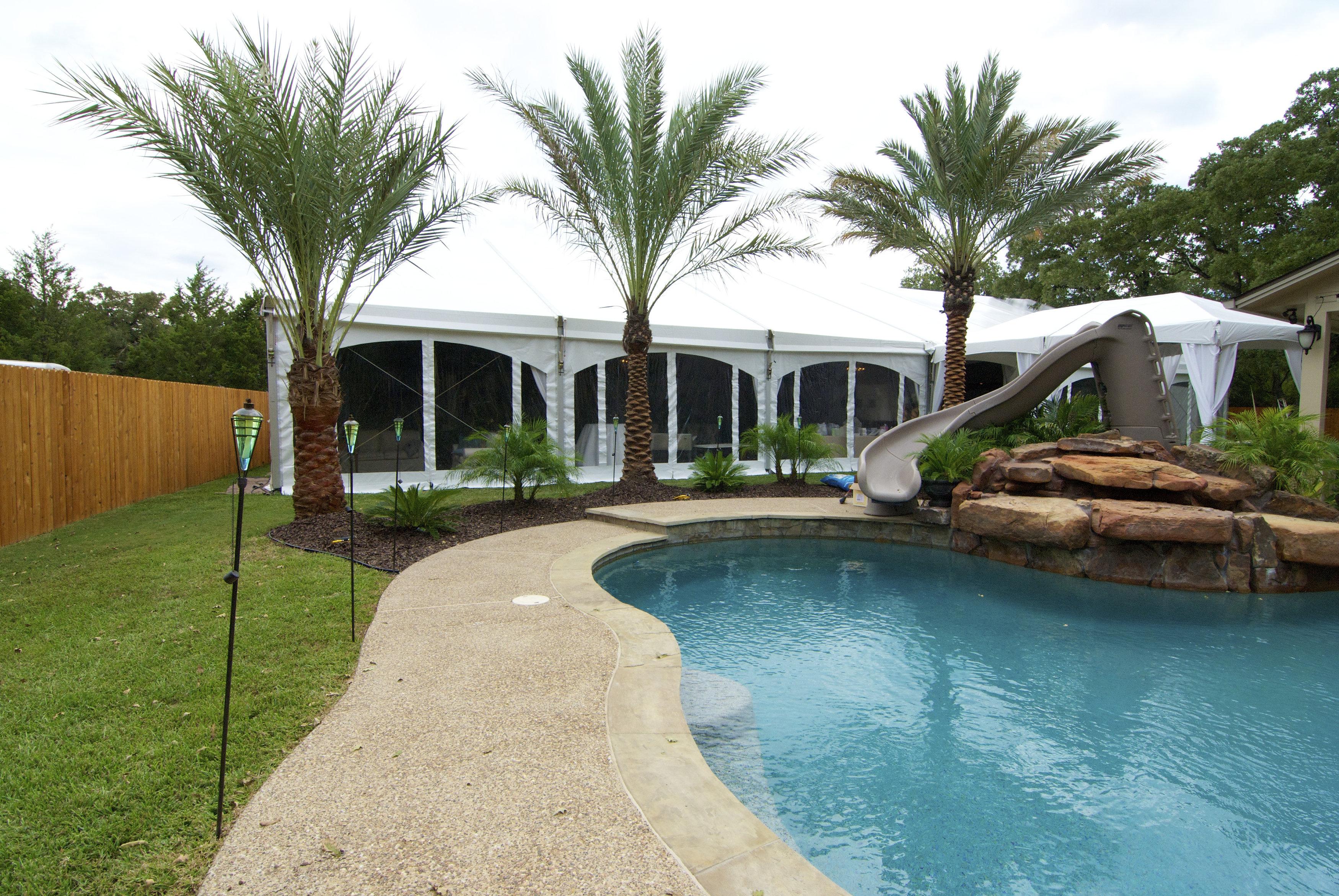Poolside White Frame Tent Rental