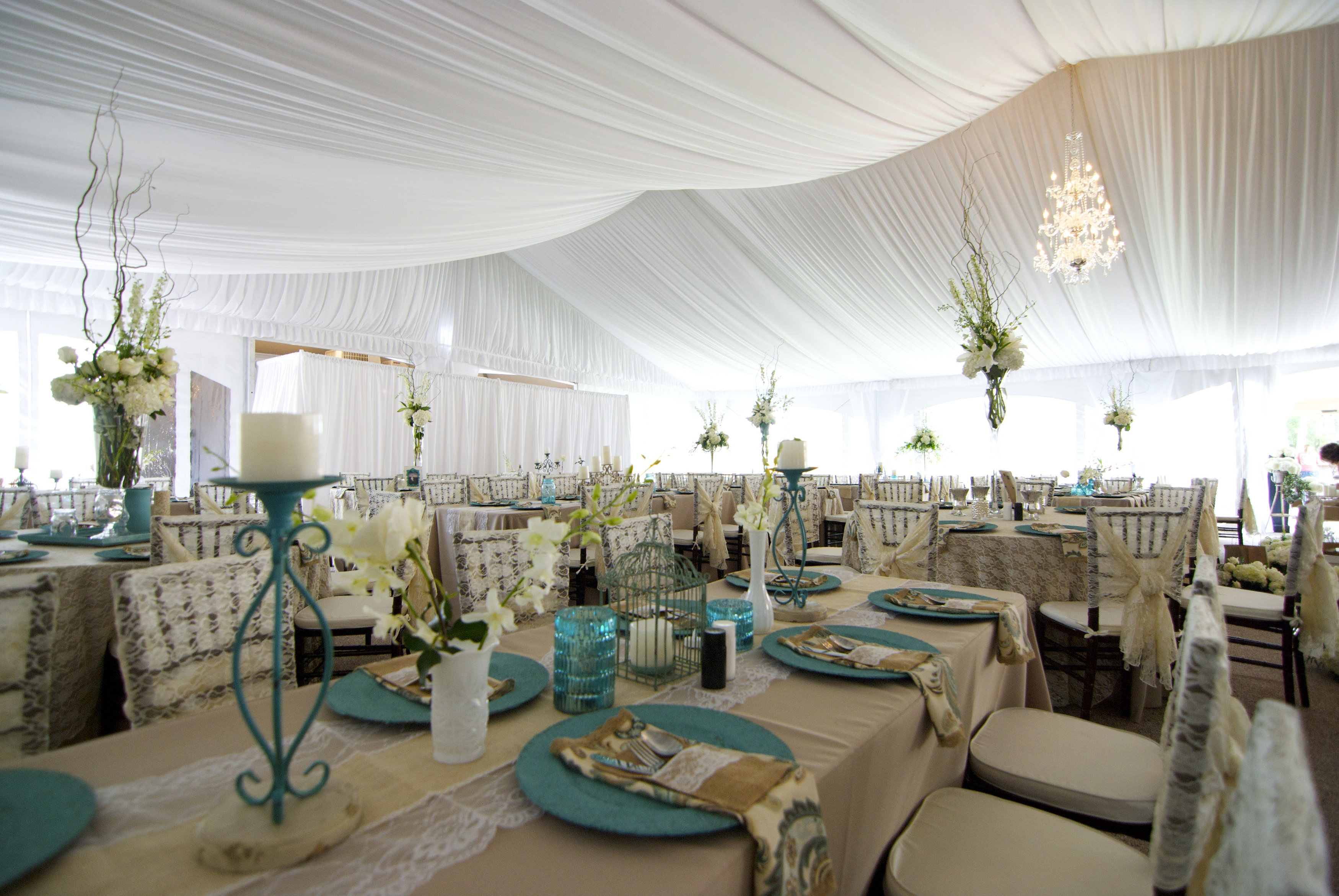 White Elegant Decor Under Frame Tent Rental