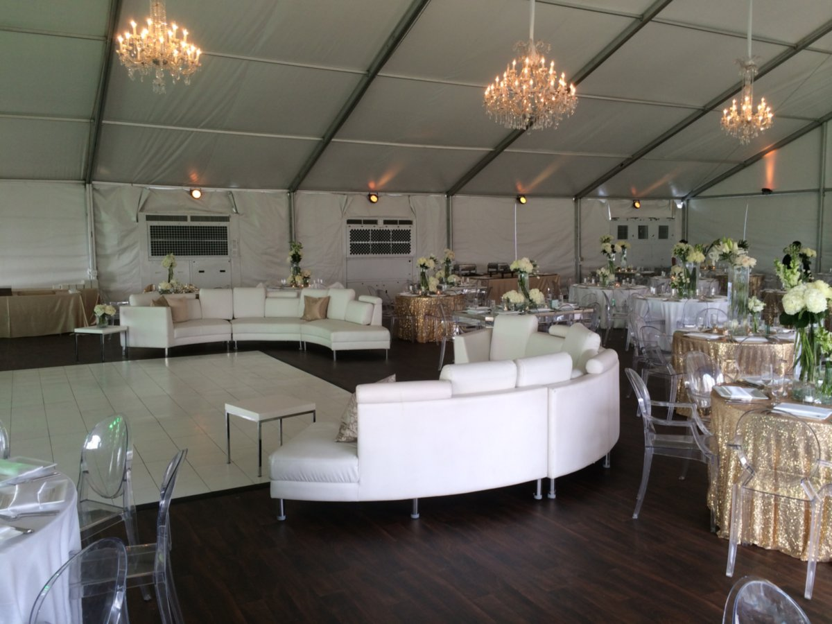 Elegant Decor Tablescape Under White Tent Rental
