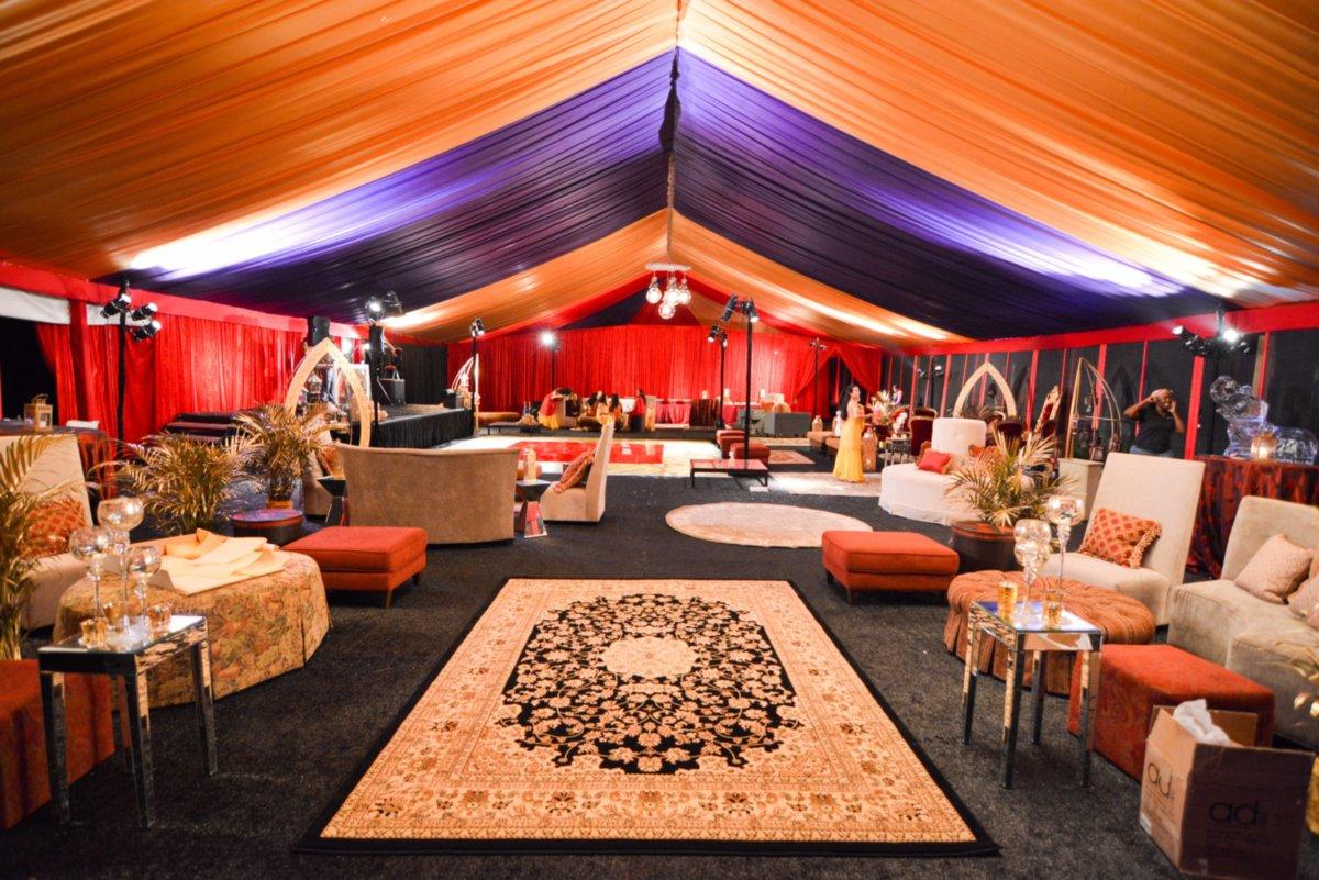 Elegant Decor and Furniture Under Colorful Frame Tent