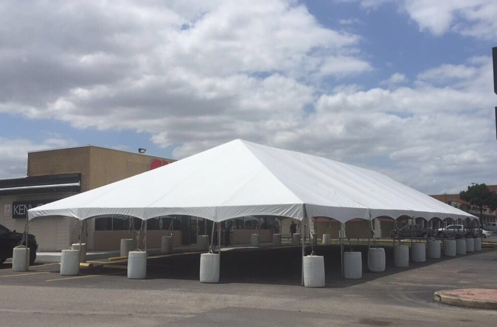 Frame Tent with Barrels