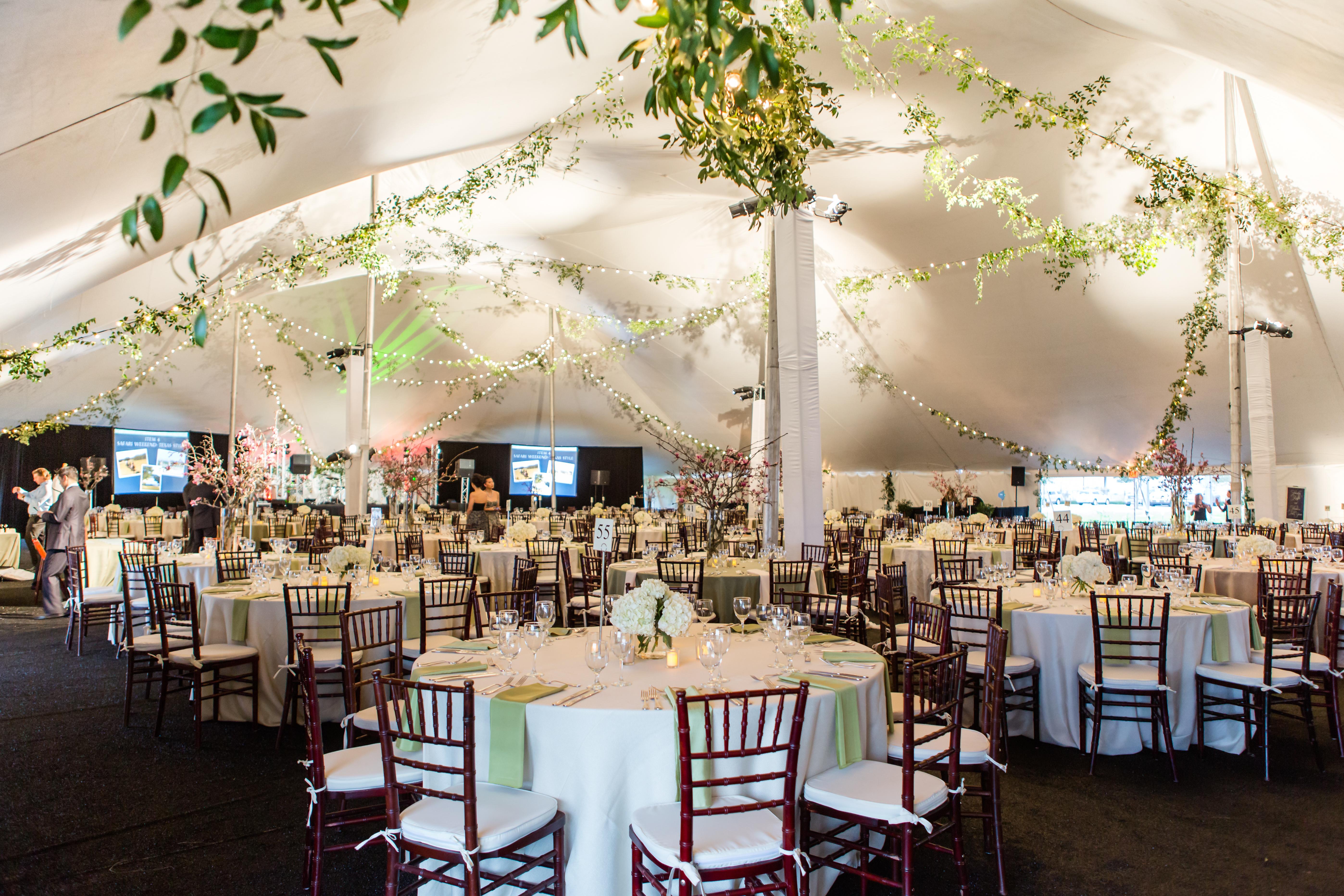Inside Pole Tent Rental with Elegant Decor