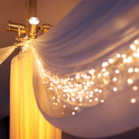 Elegant Decor and Lighting around Tent Pole