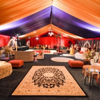 Elegant Decor and Furniture Under Colorful Frame Tent