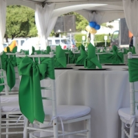 Green Chair Ties on White Chiavari Rental Chairs