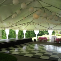 Japanese Lanterns and Marble Dance Floor Frame Tent Rental