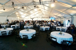 Inside White Structure Tent with Tablescape