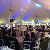 White Pole Tent Rental Tablescape and Lighting