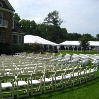 White Chair Large Wedding Ceremony Seating Arrangement