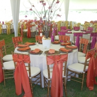 Chiavari Chairs Around White Tables