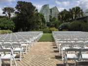 Outdoor Wedding Ceremony with Rental Garden Chairs