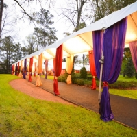 Colorful Sashes on Frame Tent Rental