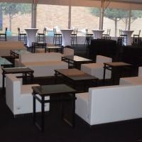 White Leather Modular Rental Sofas
