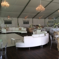 Elegant Decor Tablescape Under White Tent Rental