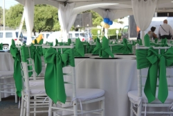 Green Chair Ties on White Chiavari Rental Chairs