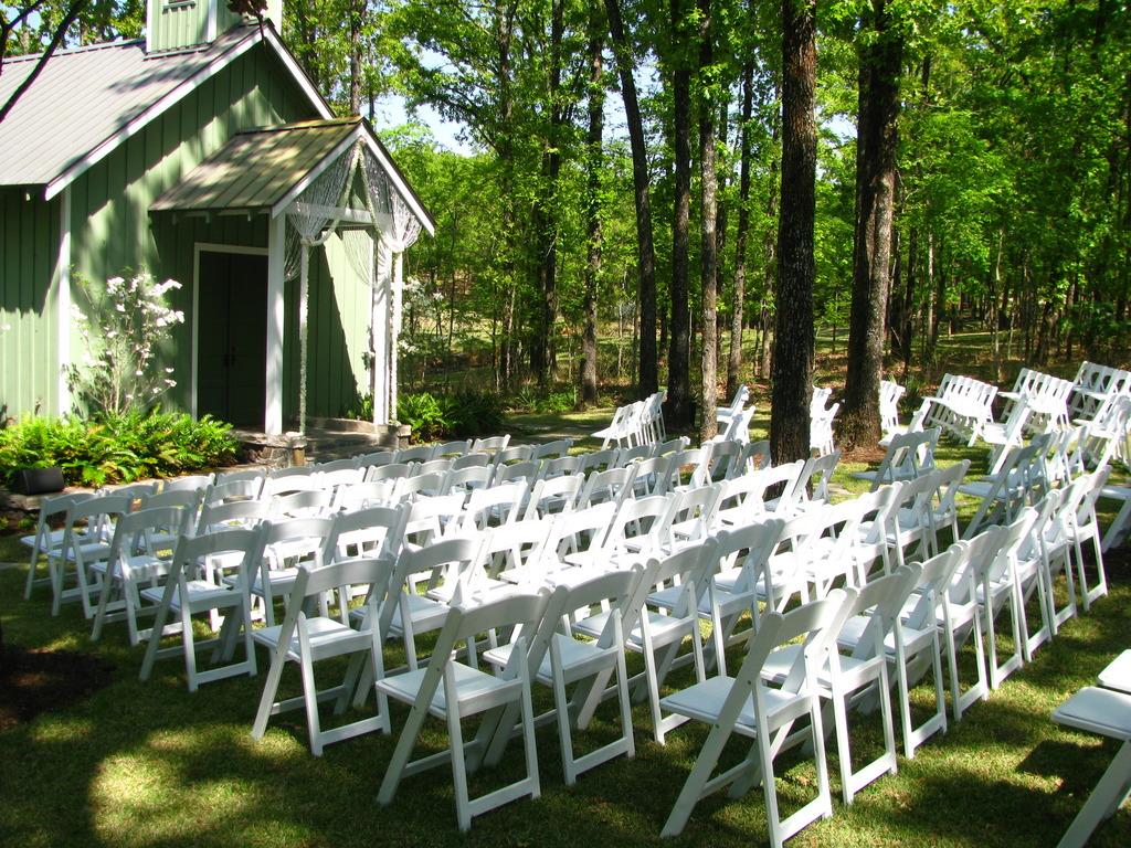 White Chair Wedding Ceremony Seating Arrangement