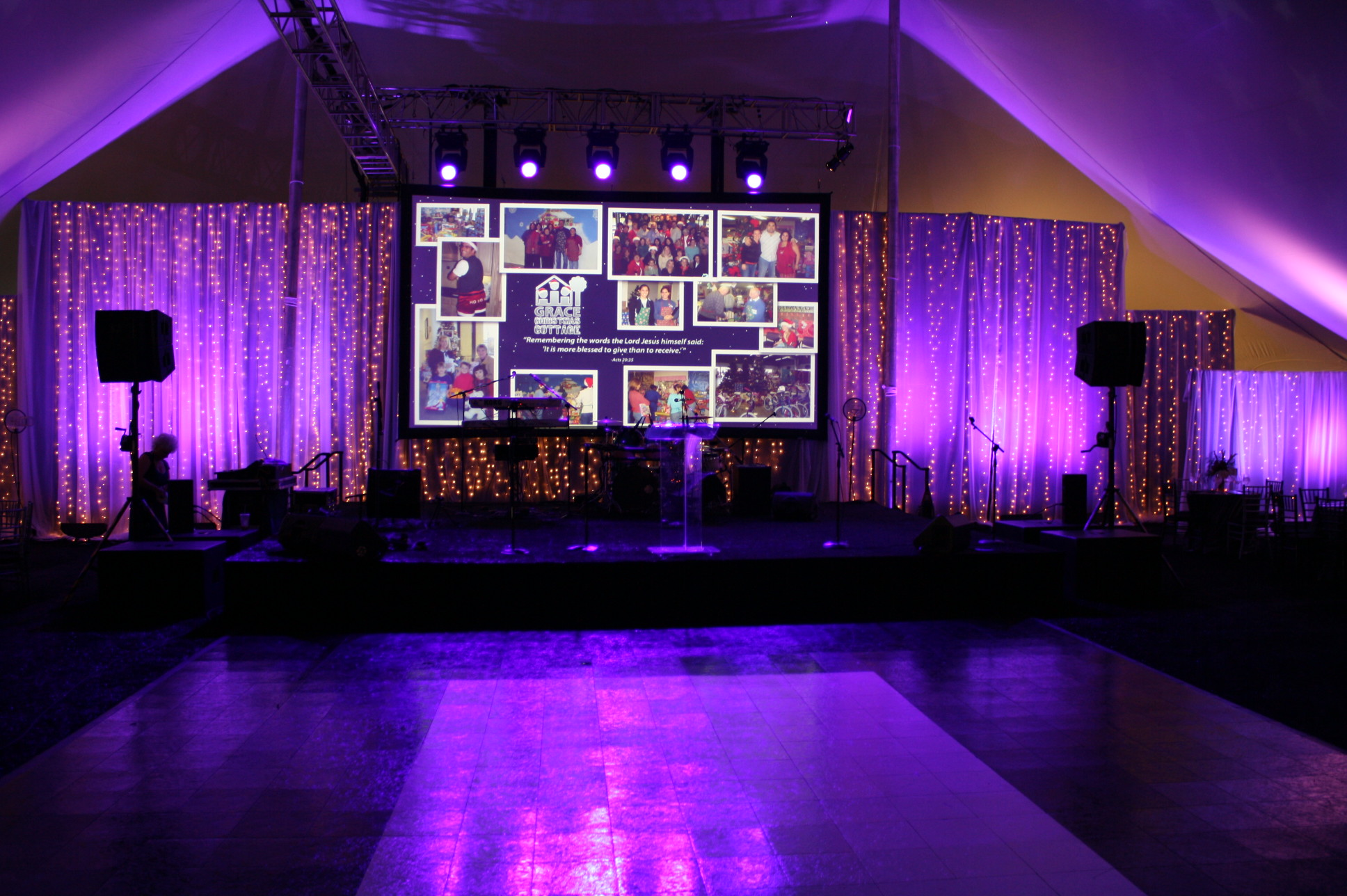 Inside View of Pole Tent Rental With Lighting