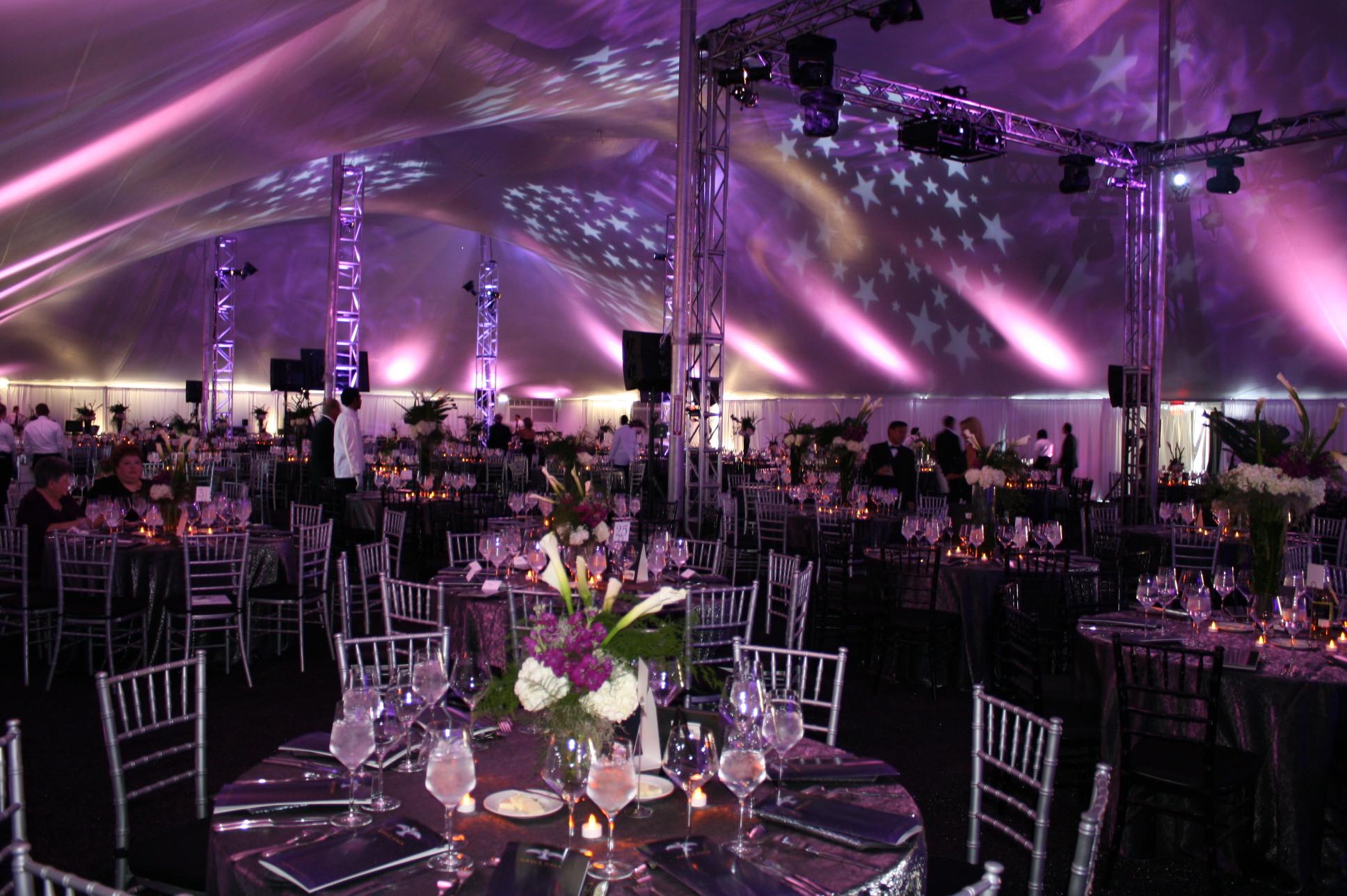 Lighting Inside White Pole Tent Rental