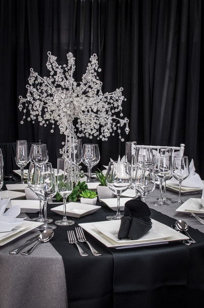 Square Plates on Grey Linens with Black Runner