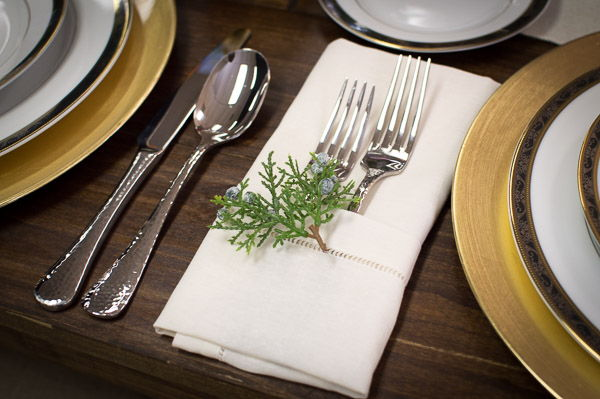 Close-up of Hammered Flatware and Decor