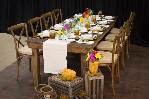 Rustic Banquet Tablescape with Decor