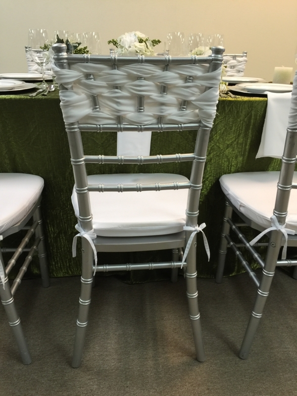 Silver Chiavari Chair Rental with White Sash