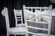 White Chiavari Chairs with White Sashes and Bows