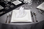 Table Setting in Front of White Chair