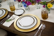 Elegant China with Hammered Flatware