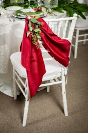 Red Sash on White Chiavari Chair