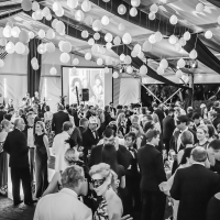 Crowded Dance Floor at a Black and White Gala