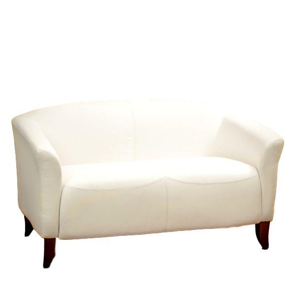 Imperial Loveseat White Leather Rental