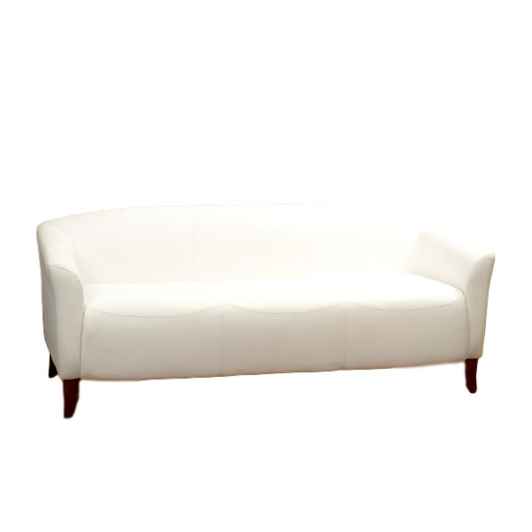 Imperial Sofa White Leather Rental