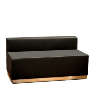 Modular Loveseat Black Leather Rental