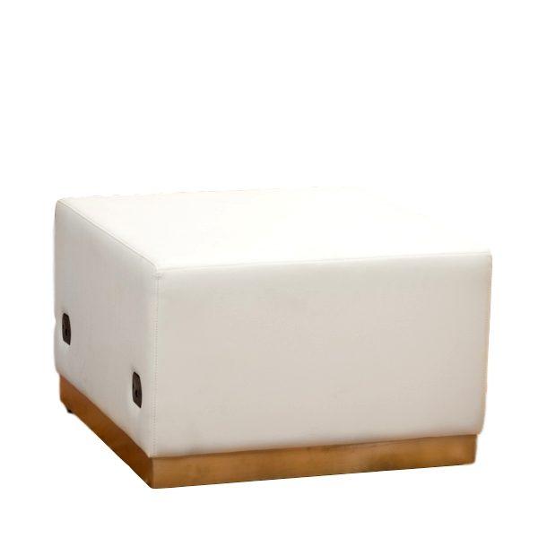 Modular Ottoman White Leather