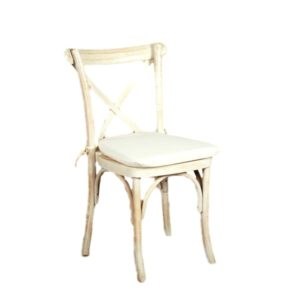 Whitewash Cross Back Chair Rental