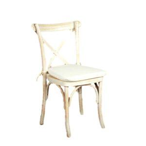 Whitewash Cross Back Chair Rental