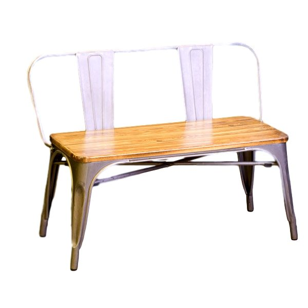 Gun Metal Bench With Wood Seat Rental
