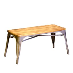 Gun Metal Table With Wood Top Rental