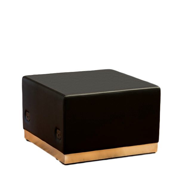 Modular Ottoman Black Leather Rental