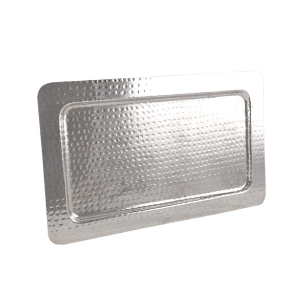 Silver Hammered Rectangle Tray 12x20in