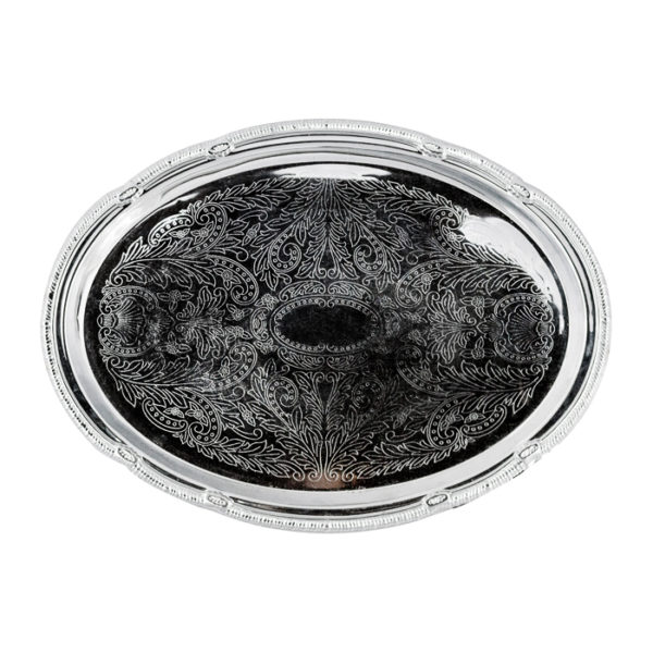 Silver Oval Serving Tray Rental