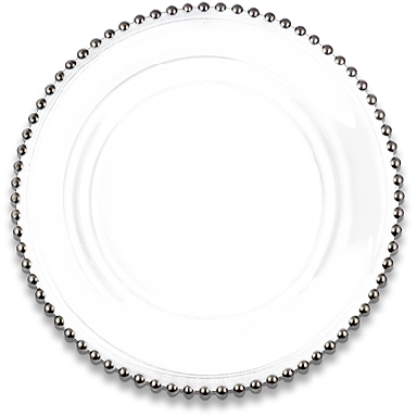 Glass Silver Beaded Charger