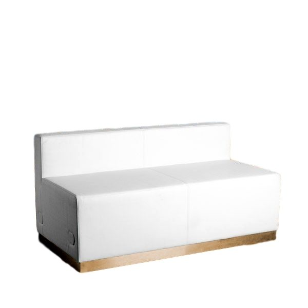 Modular Loveseat White Leather Rental