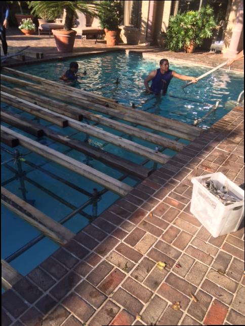 Swimming on the job.