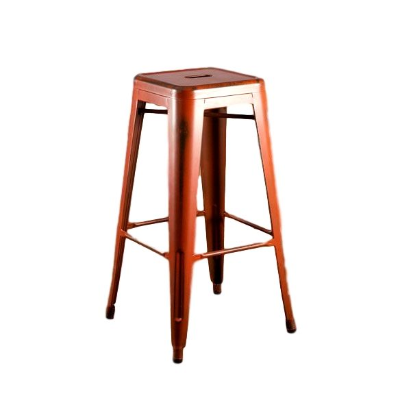 Distressed Orange Barstool Rental